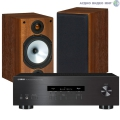 Стерео комплект Yamaha R-S202 Black+Monitor Audio MR2 Walnut