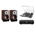 Стерео комплект Denon DP-300F Black+Denon PMA-520AE Black+DALI Zensor 3 Light Walnut