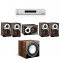 Onkyo TX-L50 White + комплект 5.1 Dali Zensor Pico Set 4.0/Pico Vokal/SUB E-9 F Light Walnut