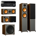 Yamaha RX-V485 Black + комплект 5.1 Monitor Audio Monitor 200/50/C150/MRW-10 Walnut Vinyl