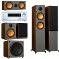 Onkyo TX-NR474 Silver + комплект 5.1 Monitor Audio Monitor 200/100/C150/MRW-10 Walnut Vinyl