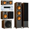 Onkyo TX-NR474 Silver + комплект 5.1 Monitor Audio Monitor 300/100/C150/MRW-10 Walnut Vinyl